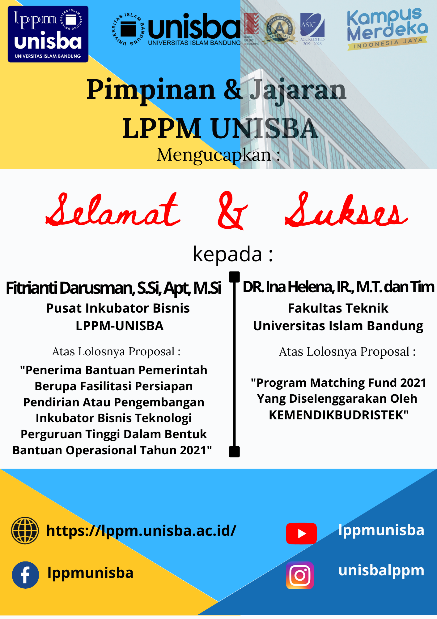 Pimpinan dan Jajaran LPPM UNISBA mengucapkan Selamat & Sukses kepada Pemenang Hibah Tahun 2021