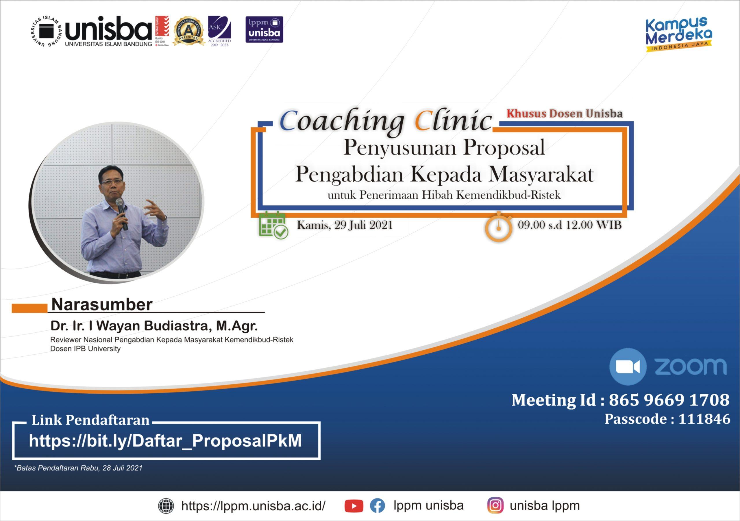 Coaching Clinic Penyusunan Proposal PkM untuk Hibah Kemendikbud-Ristek